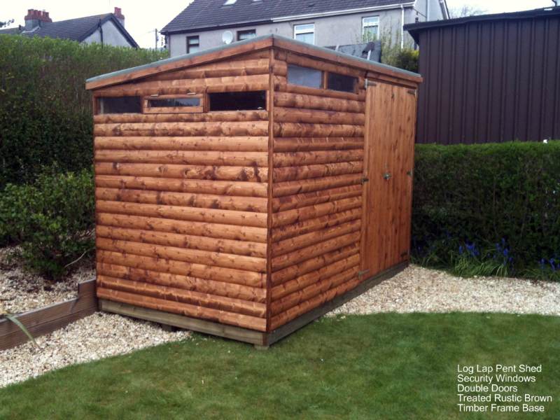 Pent Shed with Security Windows